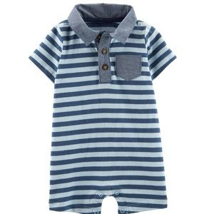 Baby Boy Striped Pocket Polo Romper